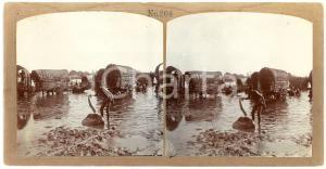 1900 ca SRI LANKA (?) Wagons crossing a river  - ANIMATED Stereoview 204