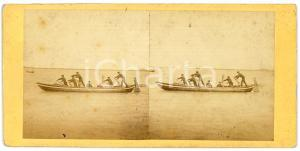1910 ca BELGIQUE (?) Boatmen rowing on a lake  - Vintage Stereoview