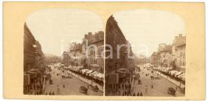 1900 ca BELGIQUE Grand rue d'une ville vers le port - ANIMATED Stereoview