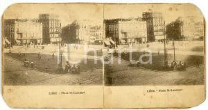 1900 ca LIEGE (BELGIQUE) Place St-Lamberte - ANIMATED Stereoview
