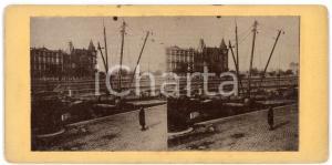 1910 ca LIEGE (BELGIQUE) Vue des quais avec des bateaux - ANIMATED stereoview