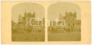 1900 ca MALINES (BELGIQUE) Statue de Marguerite d'Autriche - Vintage Stereoview