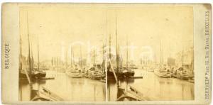 1905 ca OSTENDE (BELGIQUE) Vue avec des bateaux - Vintage Stereoview