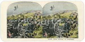 1915 ca WW1 British Horse Artillery at Compaegny  - Vintage Stereoview