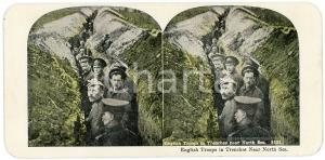 1915 ca WW1 English Troops in Trenches near North Sea  - Vintage Stereoview