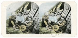 1915 ca WW1 English Troops - Lessons in French - Vintage Stereoview