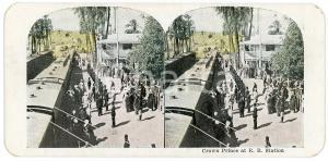 1910 ca Crown Prince at R. R. Station -  Chromolithograph Stereoview