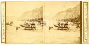 1900 ca FLUELEN (Lac des 4 Cantons, Suisse) Carriages -  ANIMATED Stereoview