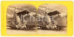 1900 ca SUISSE Machine du chemin de fer du RIGI -  Vintage Stereoview