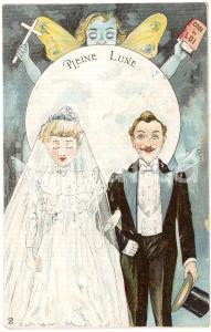 1910 ca COUPLE Pleine lune - Wedding - Moon - Vintage postcard
