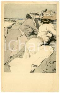 1910 ca SIMPLICISSIMUS - Women on the beach - ILLUSTRATED postcard Serie XII n°5