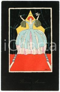 1910 ca ART DECO Artist Jules CHAUVIN - Woman with stick - Original postcard
