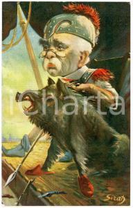 1915ca SATIRE George CLEMENCEAU avec un sanglier - Ill. SIRAD Carte postale FP