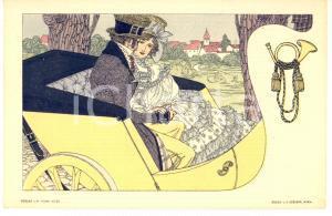 1900 ca ART NOUVEAU Couple in a car - Postcard S. CZEIGER