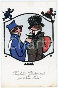 1910 NEUEN JAHRE - NEW YEAR'S EVE Guard and thief ILLUSTRATED Postcard FP NV