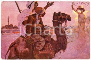 1920 ca AFRICA Indigeni a cammello e visione della Pace - Cartolina ILLUSTRATA