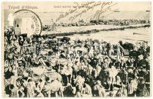 1906 TRIPOLI D'AFRIQUE Grand marché des chàmeaux - Carte postale FP VG