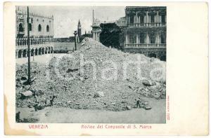 1902 VENEZIA Rovine del campanile di San Marco - Cartolina FP NV