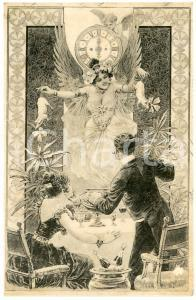1908 NEW YEAR'S EVE Couple dining -  Fairy with lucky pigs - Old postcard
