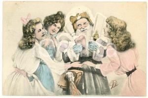 1903 CHRISTMAS - Santa Claus with women - Ill. H. TORAU - Vintage postcard