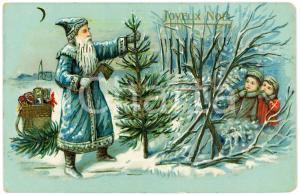 1911 JOYEUX NOËL - Santa Claus cutting a Christmas tree - Embossed postcard