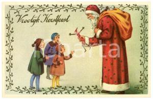 1910 ca CHRISTMAS - Vroolijk Kerstfeest - Santa Claus giving toys - Postcard