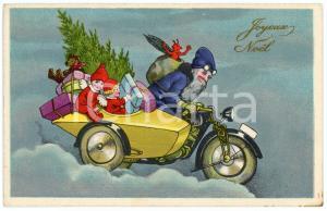 1910 ca. JOYEUX NOËL - Santa Claus on a sidecar with children - Postcard