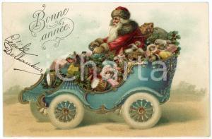 1906 BONNE ANNÉE - Santa Claus driving a car full of toys - Embossed postcard
