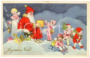 1910 ca. JOYEUX NOËL - Santa Claus giving gifts to children - Postcard