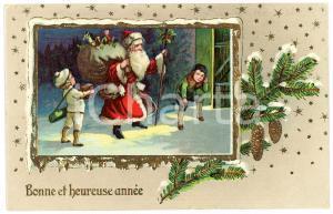 1913 BONNE ET HEUREUSE ANNÉE - Santa Claus with children - Embossed postcard