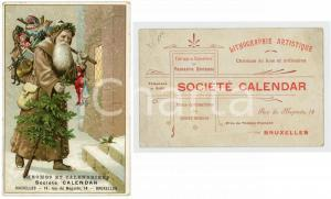 1900 ca BRUXELLES SOCIÉTÉ CALENDAR - Santa Claus bringing toys - Postcard