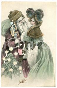 1903 CHRISTMAS - Santa Claus and a woman - Ill. H. TORAU - Vintage postcard