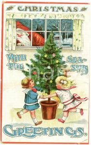 1909 CHRISTMAS with the Season's Greetings - Embossed postcard