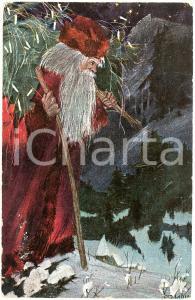 1912 CHRISTMAS - Santa Claus bringing the Christmas tree - Postcard