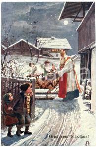 1910 ca. Gruß vom Nikolaus! - Santa Claus giving toys to a cupid - Postcard