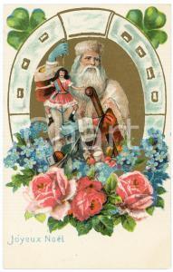 1900 ca JOYEUX NOEL Santa Claus with horseshoe  - Embossed postcard RENAUX