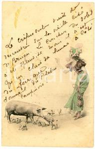 1901 GOOD LUCK - Woman with pigs - French vintage postcard