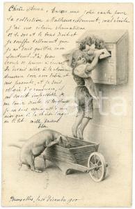 1900 - Child posting letter with pig -  ILLUSTRATED postcard