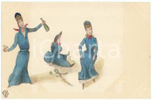 1900 ca HUMOUR Three drunken women ILLUSTRATED Postcard FP NV