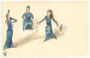 1900 ca HUMOUR Three women acting ILLUSTRATED Postcard FP NV