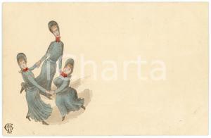 1900 ca HUMOUR Three women doing round dance ILLUSTRATED Postcard FP NV
