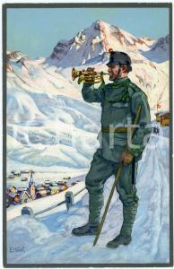 1916 WW1 Artist E. HODEL Hiver 1915/16 - Carte postale GLOBETROTTER 2 Série