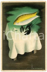 1934 PARIS Maison PRUNIER - Carte publicitaire illustration A. M. CASSANDRE