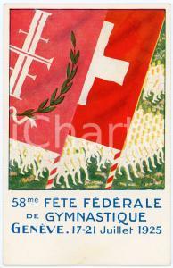 1925 GENÈVE 58me Fête Fédérale de Gymnastique - Carte Postale Officielle