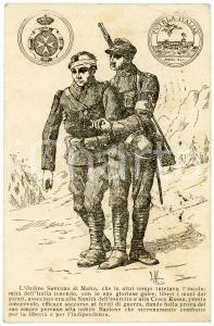 1916 WW1 Ordine Sovrano di Malta aiuta soldati feriti - Cartolina ILLUSTRATA