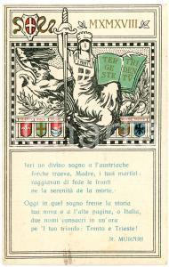 1918 WW1 Trento e Trieste liberate - Versi di R. Murari - Cartolina ILLUSTRATA