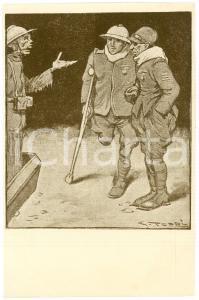 1918 ca WW1 Artista Giove TOPPI Scheletro parla con mutilati di guerra Cartolina