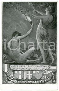 1922 CONFERENZA DI GENOVA Lavoro e Pace - Cartolina ILLUSTRATA FP NV