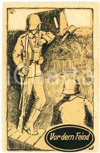 1915 ca WW1 Vor dem Feind - Soldato lancia granata dalla trincea - Cartolina FP