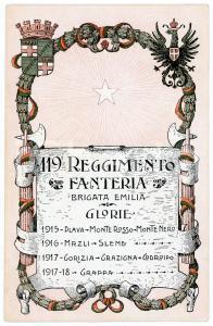 1918 WW1 - 119° Reggimento Fanteria BRIGATA EMILIA Cartolina illustrata FP NV
